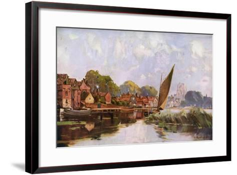 On the River at Beccles, Suffolk, 1924-1926-Louis Burleigh Bruhl-Framed Art Print