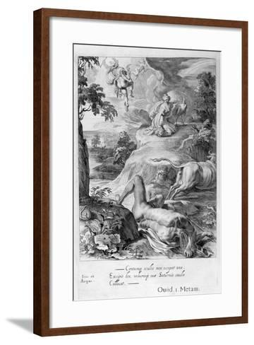 Io Changed into a Cow: Mercury Cuts Off Argus' Head, 1655-Michel de Marolles-Framed Art Print