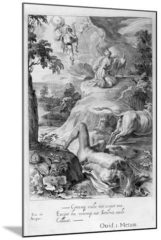 Io Changed into a Cow: Mercury Cuts Off Argus' Head, 1655-Michel de Marolles-Mounted Giclee Print