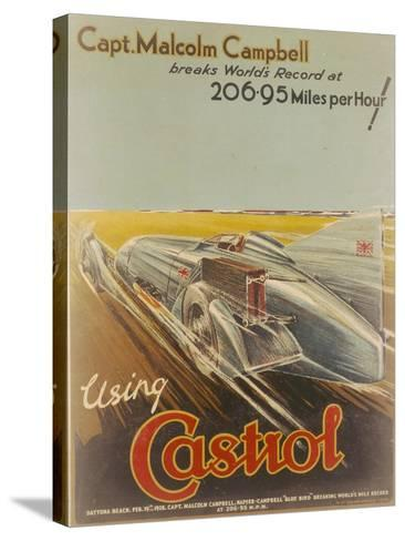 Poster Advertising Castrol, Featuring Bluebird, 1928-NF Humphries-Stretched Canvas Print