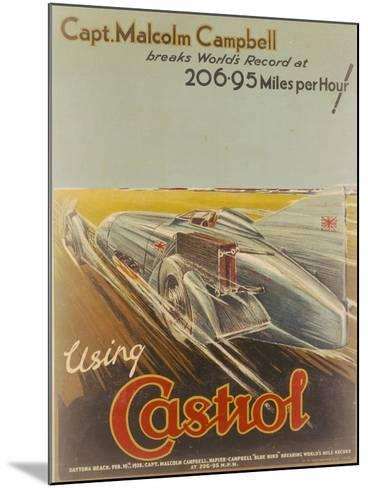 Poster Advertising Castrol, Featuring Bluebird, 1928-NF Humphries-Mounted Giclee Print