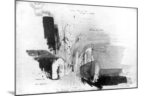 The Moment a Torpedo from German Submarine U-20 Hit the RMS Lusitania, 7 May 1915-Oliver Bernard-Mounted Giclee Print