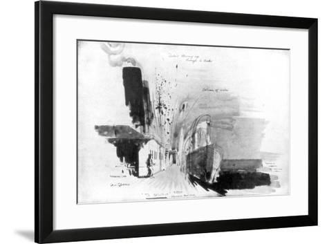 The Moment a Torpedo from German Submarine U-20 Hit the RMS Lusitania, 7 May 1915-Oliver Bernard-Framed Art Print
