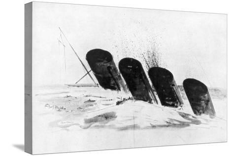 The Sinking of RMS Lusitania, 7 May 1915-Oliver Bernard-Stretched Canvas Print