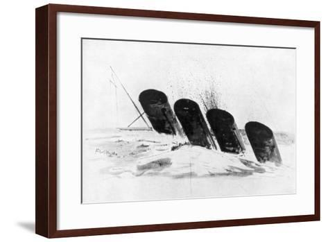 The Sinking of RMS Lusitania, 7 May 1915-Oliver Bernard-Framed Art Print