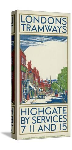 Highgate by Services 7, 11 and 15, London County Council (LC) Tramways Poster, 1924-Oliver Burridge-Stretched Canvas Print