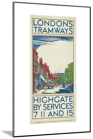Highgate by Services 7, 11 and 15, London County Council (LC) Tramways Poster, 1924-Oliver Burridge-Mounted Giclee Print