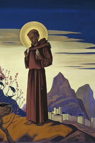 Saint Francis, 1932-Nicholas Roerich-Stretched Canvas Print