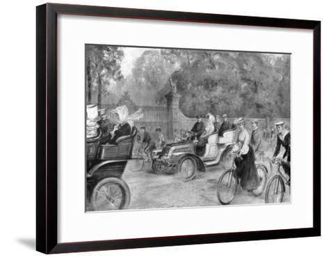 Motors and Cycles in Kensington High Street, London, 1903-Percy FS Spence-Framed Art Print