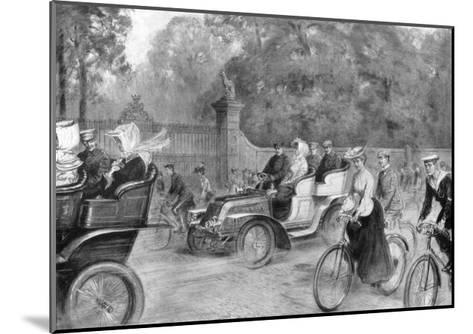 Motors and Cycles in Kensington High Street, London, 1903-Percy FS Spence-Mounted Giclee Print