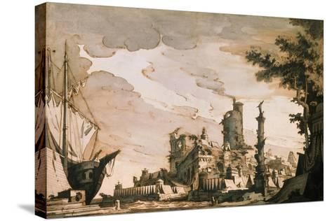 Sea Harbor, Stage Design for a Theatre Play, 1818-Pietro Gonzaga-Stretched Canvas Print
