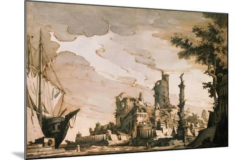 Sea Harbor, Stage Design for a Theatre Play, 1818-Pietro Gonzaga-Mounted Giclee Print