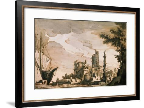 Sea Harbor, Stage Design for a Theatre Play, 1818-Pietro Gonzaga-Framed Art Print
