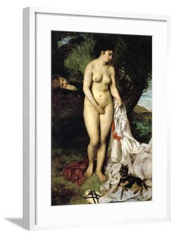 Bather (La Baigneuse Au Griffon), 1870-Pierre-Auguste Renoir-Framed Art Print