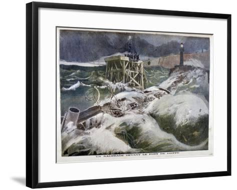 A Shipwreck in Front of the Port of Dieppe, 1899-Oswaldo Tofani-Framed Art Print