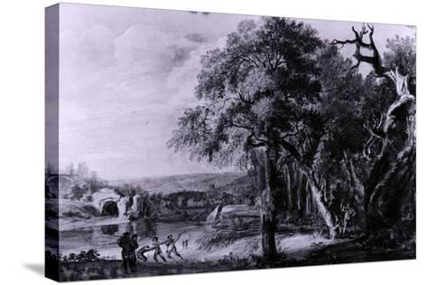 Woodcutters Near a River, 1755-Paul Sandby-Stretched Canvas Print