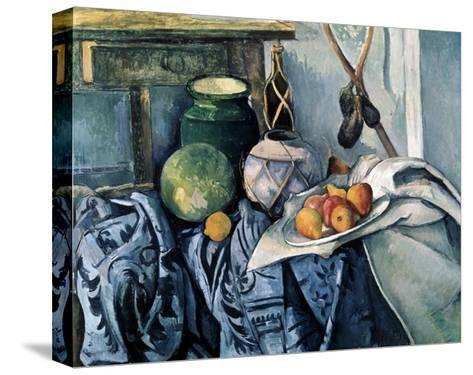 Still Life with a Flagon and Aubergines, 1890-1894-Paul C?zanne-Stretched Canvas Print