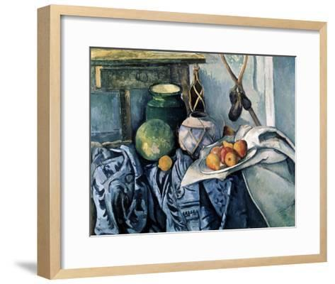 Still Life with a Flagon and Aubergines, 1890-1894-Paul C?zanne-Framed Art Print