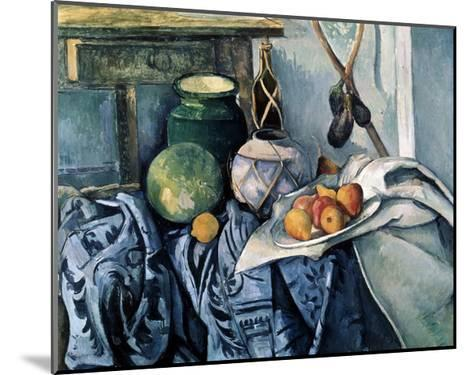 Still Life with a Flagon and Aubergines, 1890-1894-Paul C?zanne-Mounted Giclee Print