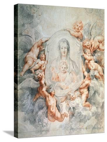 Madonna Adored by Angels (Madonna Della Vallicell), 1608-Peter Paul Rubens-Stretched Canvas Print