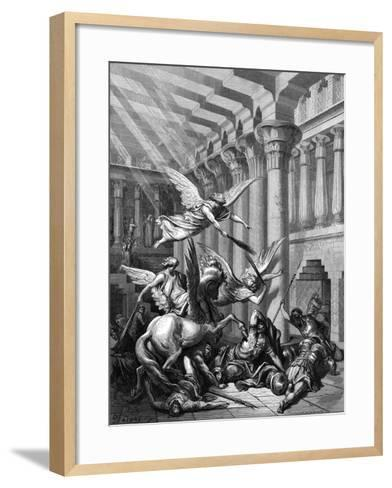 Heliodorus Attempting to Take Treasure from the Temple at Jerusalem, 1865-1866-Gustave Dor?-Framed Art Print