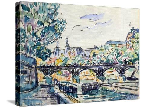 Bank of the Seine Near the Pont Des Arts with a View of the Louvre, Early 20th Century-Paul Signac-Stretched Canvas Print