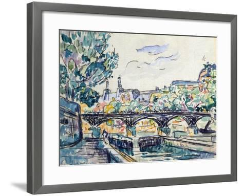 Bank of the Seine Near the Pont Des Arts with a View of the Louvre, Early 20th Century-Paul Signac-Framed Art Print