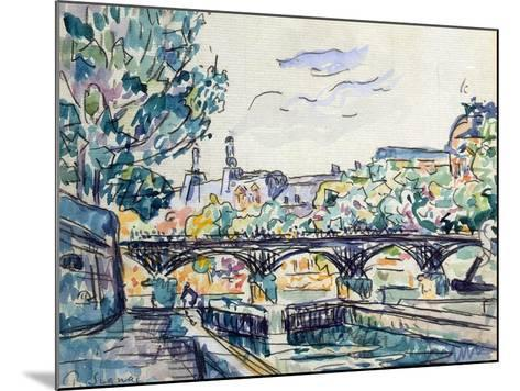 Bank of the Seine Near the Pont Des Arts with a View of the Louvre, Early 20th Century-Paul Signac-Mounted Giclee Print