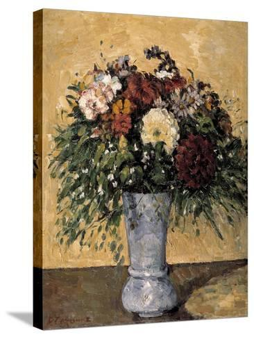 Flowers in a Blue Vase, 1873-1875-Paul C?zanne-Stretched Canvas Print