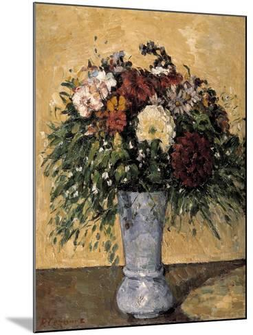 Flowers in a Blue Vase, 1873-1875-Paul C?zanne-Mounted Giclee Print