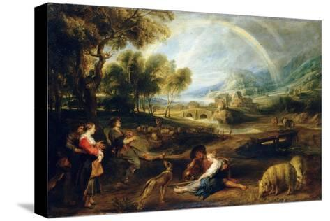 Landscape with a Rainbow, Early 1630S-Peter Paul Rubens-Stretched Canvas Print