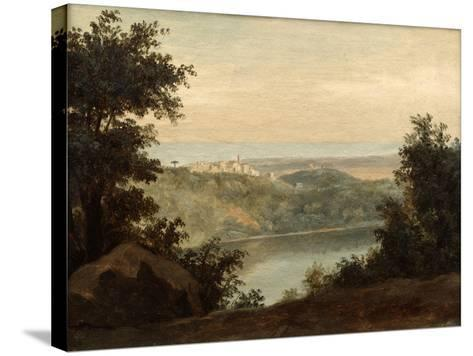 Lake Nemi, in the Background the City of Genzano, Late 18th-Early 19th Century-Pierre Henri de Valenciennes-Stretched Canvas Print