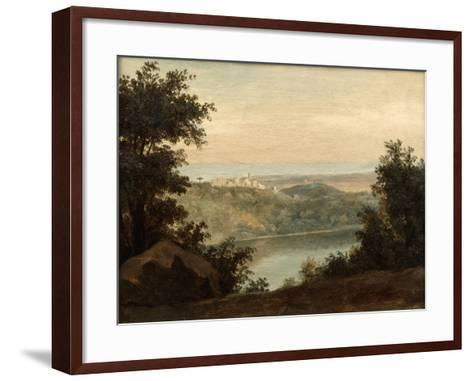 Lake Nemi, in the Background the City of Genzano, Late 18th-Early 19th Century-Pierre Henri de Valenciennes-Framed Art Print