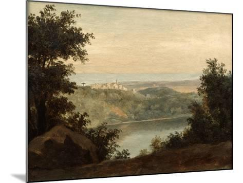 Lake Nemi, in the Background the City of Genzano, Late 18th-Early 19th Century-Pierre Henri de Valenciennes-Mounted Giclee Print