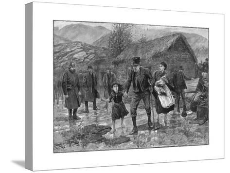 Scene at an Irish Eviction in County Kerry, 1887-P Naumann-Stretched Canvas Print