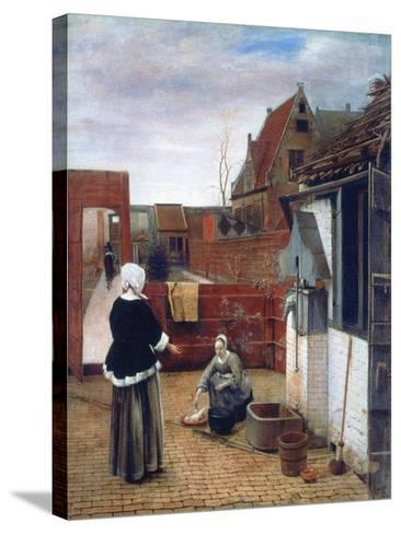 A Woman and a Maid in a Courtyard, C1660-1661-Pieter de Hooch-Stretched Canvas Print