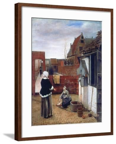 A Woman and a Maid in a Courtyard, C1660-1661-Pieter de Hooch-Framed Art Print