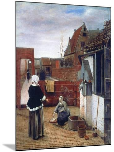 A Woman and a Maid in a Courtyard, C1660-1661-Pieter de Hooch-Mounted Giclee Print