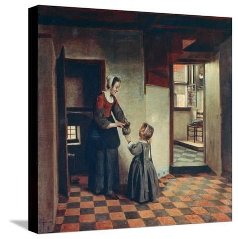 Woman with a Child in a Pantry, C1660-Pieter de Hooch-Stretched Canvas Print