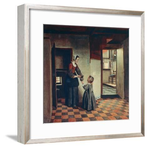 Woman with a Child in a Pantry, C1660-Pieter de Hooch-Framed Art Print
