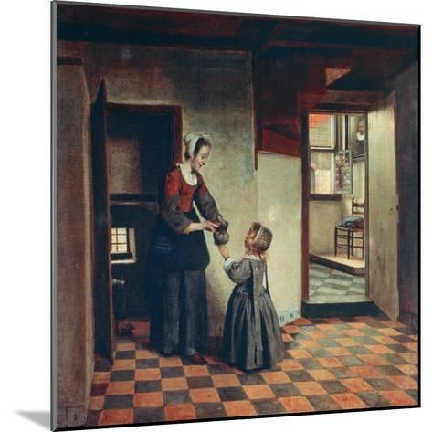 Woman with a Child in a Pantry, C1660-Pieter de Hooch-Mounted Giclee Print