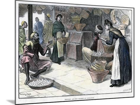 Poultry and Egg Market in Gibraltar, C1880-P Naumann-Mounted Giclee Print