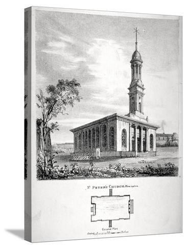 View and Ground Plan of the Church of St Peter Newington, Southwark, London, 1824-P Simonau-Stretched Canvas Print