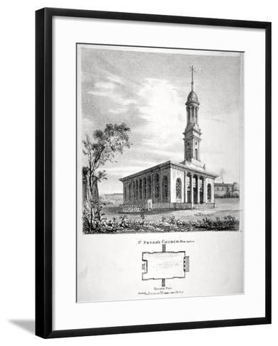 View and Ground Plan of the Church of St Peter Newington, Southwark, London, 1824-P Simonau-Framed Art Print