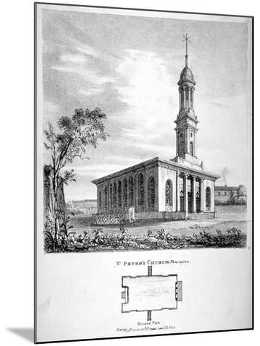View and Ground Plan of the Church of St Peter Newington, Southwark, London, 1824-P Simonau-Mounted Giclee Print