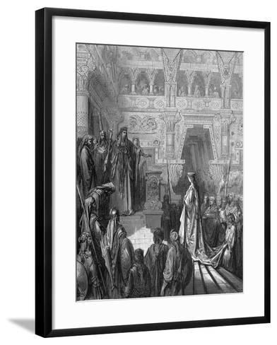 King Solomon Welcoming the Queen of Sheba, 1865-1866-Gustave Dor?-Framed Art Print