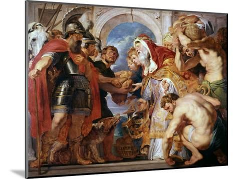 Abraham and Melchisedech, 1615-1618-Peter Paul Rubens-Mounted Giclee Print