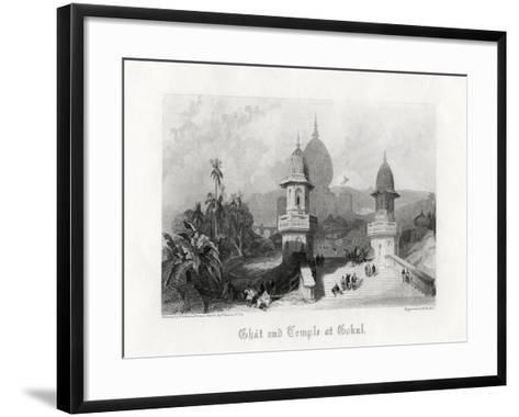 Ghat and Temple at Gokul, India, C1838-R Wallis-Framed Art Print