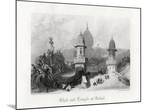 Ghat and Temple at Gokul, India, C1838-R Wallis-Mounted Giclee Print