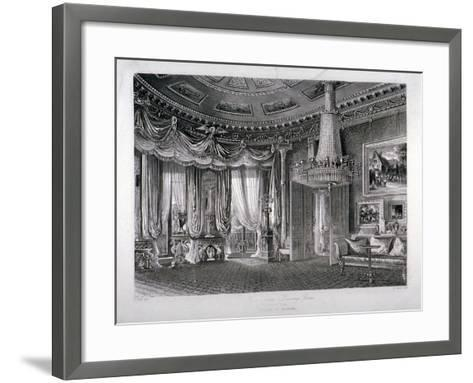 Interior View of the Rose Satin Drawing Room in Carlton House, Westminster, London, 1818-RG Reeve-Framed Art Print